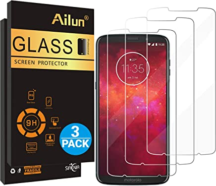 Ailun Screen Protector Compatible Moto Z3 / Z3 Play [3 Pack] Tempered Glass,9H Hardness,Ultra Clear,Bubble Free,Anti-Scratch&Fingerprint&Oil Stain Coating,Case Friendly