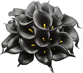DuHouse 20Pcs Calla Lily Fake Black Flowers Wedding Bouquet Artificial Real Touch Latex Flowers Home Wedding Party Decor (Black)