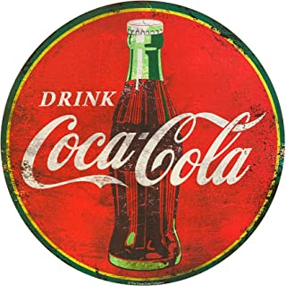 Drink Coca Cola 40 Inches by 40 Inches Round Oversized Red Metal Sign, with a Distressed Print and Look and Featuring The Coca-Cola Logo and a Retro Fountain Bottle, Licensed Coca-Cola Wall Decor