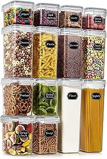 Wildone Lot de 14 boîtes de conservation hermétiques pour aliments secs et céréales - Sans BPA - Pour sucre, farine, snack...