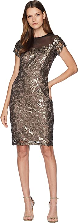 Short Sleeve Sequin Novelty Sheath with Illusion Neckline