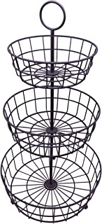 HANZE 3-Tier Wire Fruit Basket Bowl, Detachable Vegetable Bread Basket Display Storage Stand, Design for Kitchen, Bathroom Organization, Brown