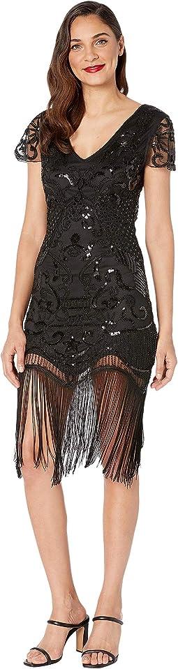 1920s Style Beaded Fringe Aurore Flapper Dress