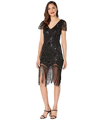 Unique Vintage 1920s Style Beaded Fringe Aurore Flapper Dress (Black) Women