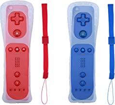 Poglen 2 Packs Wireless Gesture Controller Compatible for Nintendo wii/wii u Console - with Silicone Case and Wrist Strap for wii Controller (Red and Deep Blue)