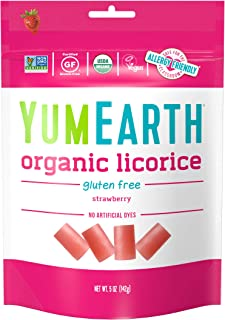 YumEarth Organic Gluten Free Strawberry Licorice, 5 Ounce, 12 pack- Allergy Friendly, Non GMO, Vegan (Packa...
