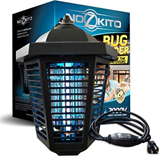 Nozkito Bug Zapper Lantern for Outdoor Use. Powerful 2000V Grid. 6 Foot Power Cord with Rainproof On/Off Switch. Mosquito Trap and Insect Killer UV Lamp. Great for Backyard, Patio, Porch and Garden