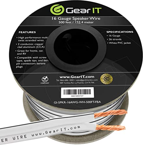 16AWG Speaker Wire, GearIT Pro Series 16 Gauge Speaker Wire Cable (500 Feet / 152.4 Meters) Great Use for Home Theate...
