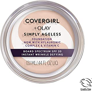COVERGIRL & Olay Simply Ageless Instant Wrinkle Defying Foundation Creamy Natural 0.4 Ounce Pot, Foundation Plus Titanium Dioxide Sunscreen SPF 28 (packaging may vary)