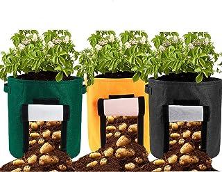 Takefuns 3 PCS 15 Gallon Potato Planter Bag,Grow Bags,Nonwoven Cloth Fabric Pots Planting Bags with Handle,Window Vegetabl...