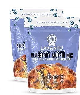 Lakanto Sugar-Free Blueberry Muffin Mix, Low-Carb, Gluten-Free Baking with Monkfruit Sweetener (Pack of 2)