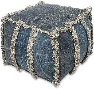 Boho Traders Kitson Cotton Ottoman Kitson Hand Woven Cotton Ottoman, MultiBlue