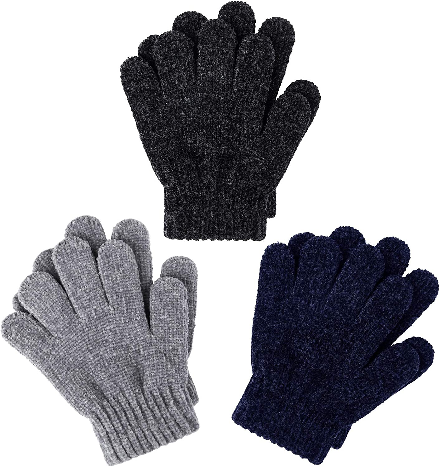 Cooraby 3 Pairs Warm Chenille Gloves Kids Stretchy Cashmere Knitted Gloves for Girls, Boys