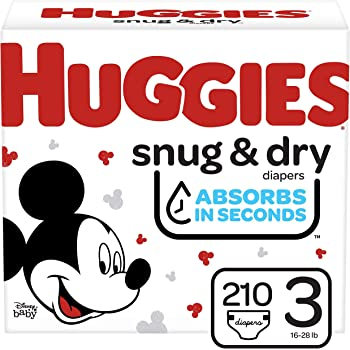 Huggies Snug & Dry Baby Diapers, Size 3, 210 Ct (3 Packs of 70), One Month Supply (Packaging May Vary)