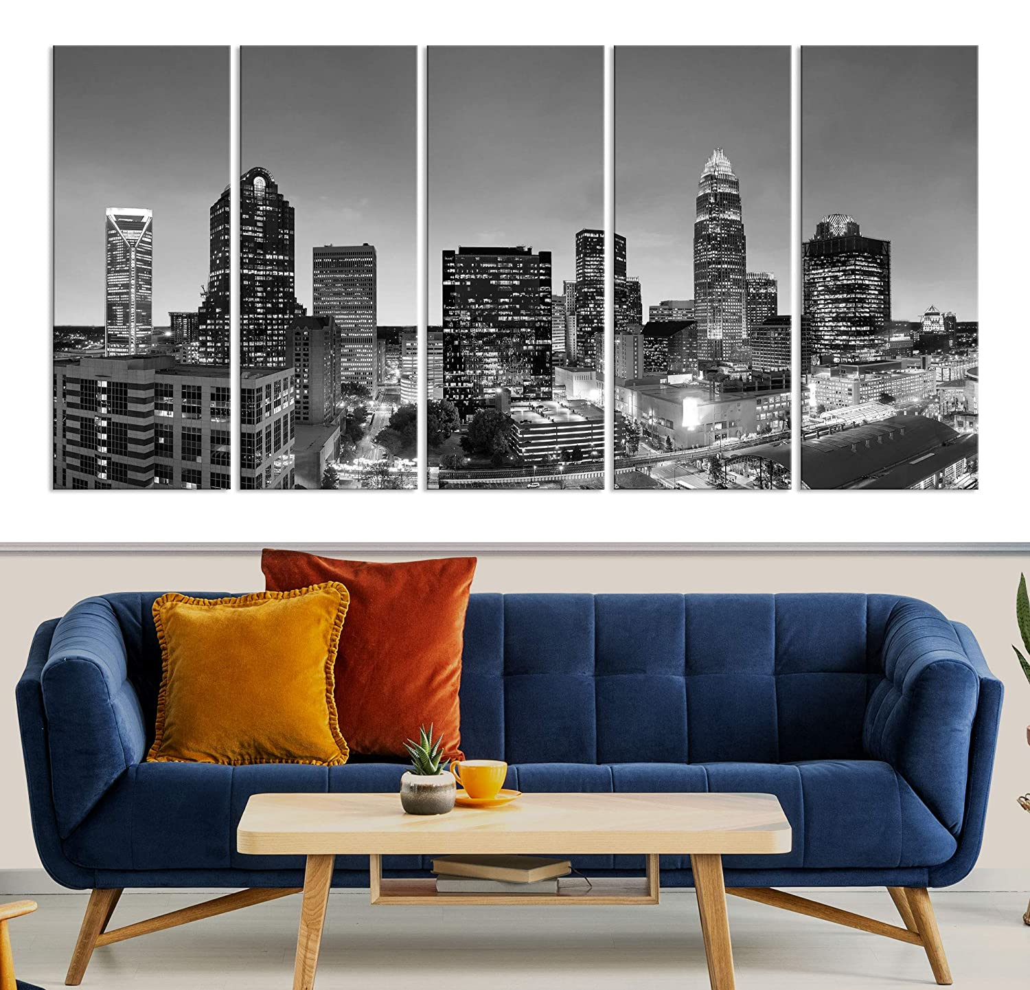 Charlotte Skyline Wall Art safety Canvas half Print Decor Livin and Home for