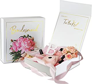 CHARVORIA Bridesmaid Proposal Box - Empty Bridesmaid Box with Lid - 'Bridesmaid' Written in Premium Gold foil Stamping. Perfect for 'Will You be My Bridesmaid' Gifts and Bridesmaid Gift Boxes.