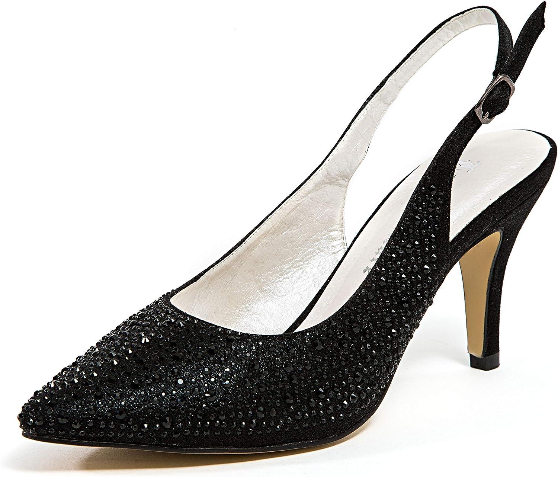 Lady Couture Elyssa 3  Heel Sling Back Beaded. Beauty Elyssa