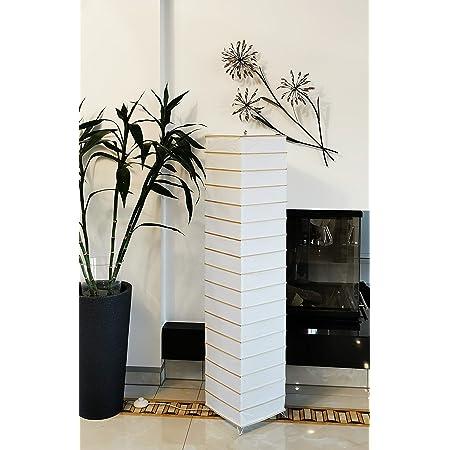 Trango TG1214 Lampadaire en papier de riz design moderne, lampe de salon en carré *EUROPA* avec tiges de décoration en bambou, hauteur 125cm, lampe de décoration de salon, lampadaire avec abat-jour