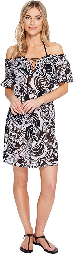Mosaic Print Cotton Dress Cover-Up