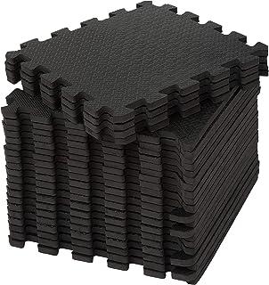 edukit EVA gym skummatta; 24 delar och 22 kanter; 30,5 x 30,5 cm; svart; glidfritt sammankopplade pussel golvplattor för h...