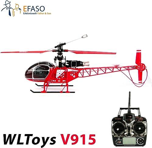 WLtoys v915Lama 2,4Ghz 4canaux hélicoptère avec télécomhommede LCD, gyroscope deux vitesse et umfangreichen Vivog faciles d'utilisation RTF complet.