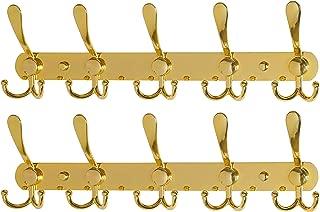 Dseap Coat Rack Wall Mounted - 5 Tri Hooks, Heavy Duty, Stainless Steel, Metal Coat Hook Rail for Coat Hat Towel Purse Robes Mudroom Bathroom Entryway (Gold, 2 Packs)