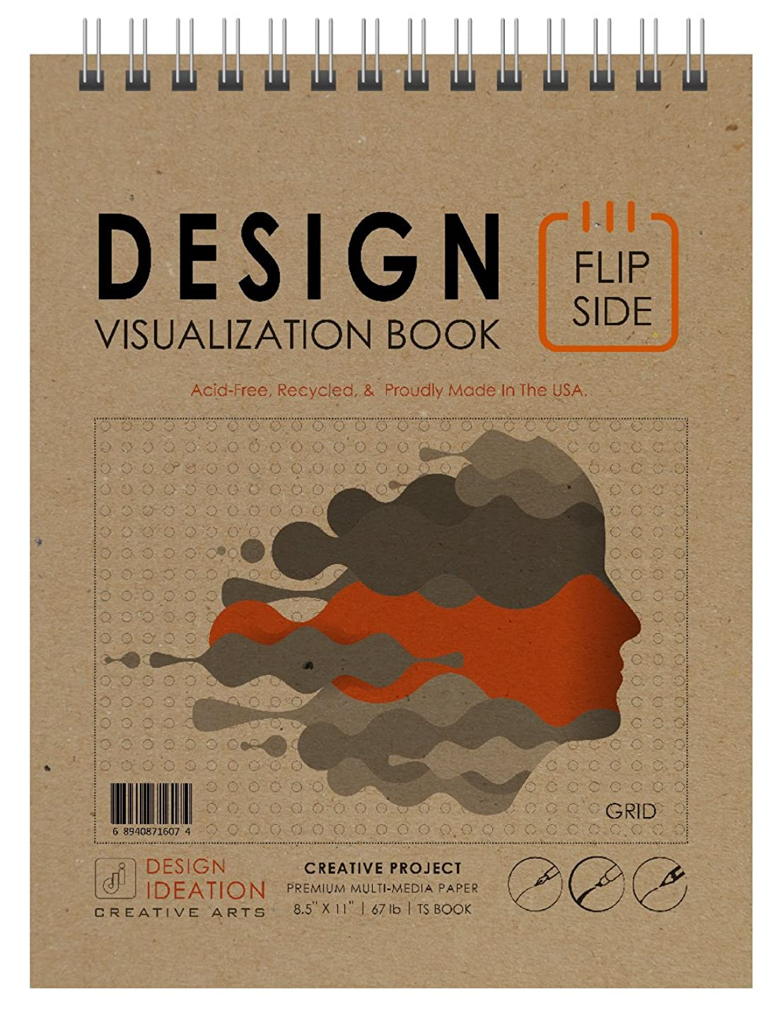 Design FLIP Side Book : Premium Paper Creative Project Book for Pencil, Ink, Marker, Charcoal and Watercolor Paints. Great for Art, Design and Education.
