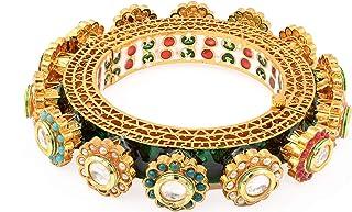 Big Bangle 22k Gold Plated Brass Handmade Jadau Kundan Meena Traditional Design Precious Big Bangle For Women & Girls For ...