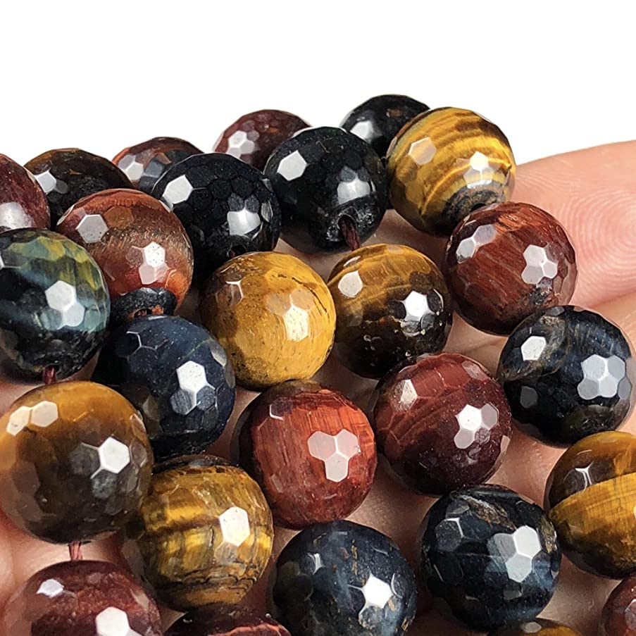 [ABCgems] African Mixed Tiger's Eye (Blue, Red, Honey- Exquisite Matrix) 12mm Faceted Round Beads