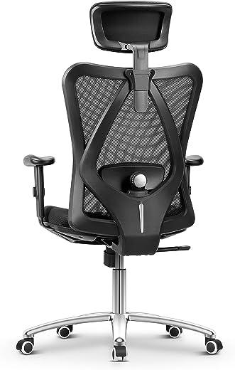 Bürostuhl Ergonomisch Bürostuhl, Schreibtischstuhl Computer Stuhl drehstuhl mit Netz-Design-Sitzkissen, Verstellbare Kopfstütze und Armlehnen,…