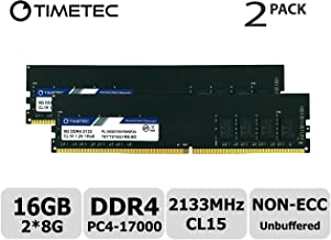 Timetec Hynix IC 16GB Kit (2x8GB) DDR4 2133MHz PC4-17000 Unbuffered Non-ECC 1.2V CL15 1Rx8 Single Rank 288 Pin UDIMM Desktop Memory RAM Module Upgrade (16GB Kit (2x8GB))