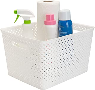Simplify Large Resin Wicker Bin in White Storage Basket