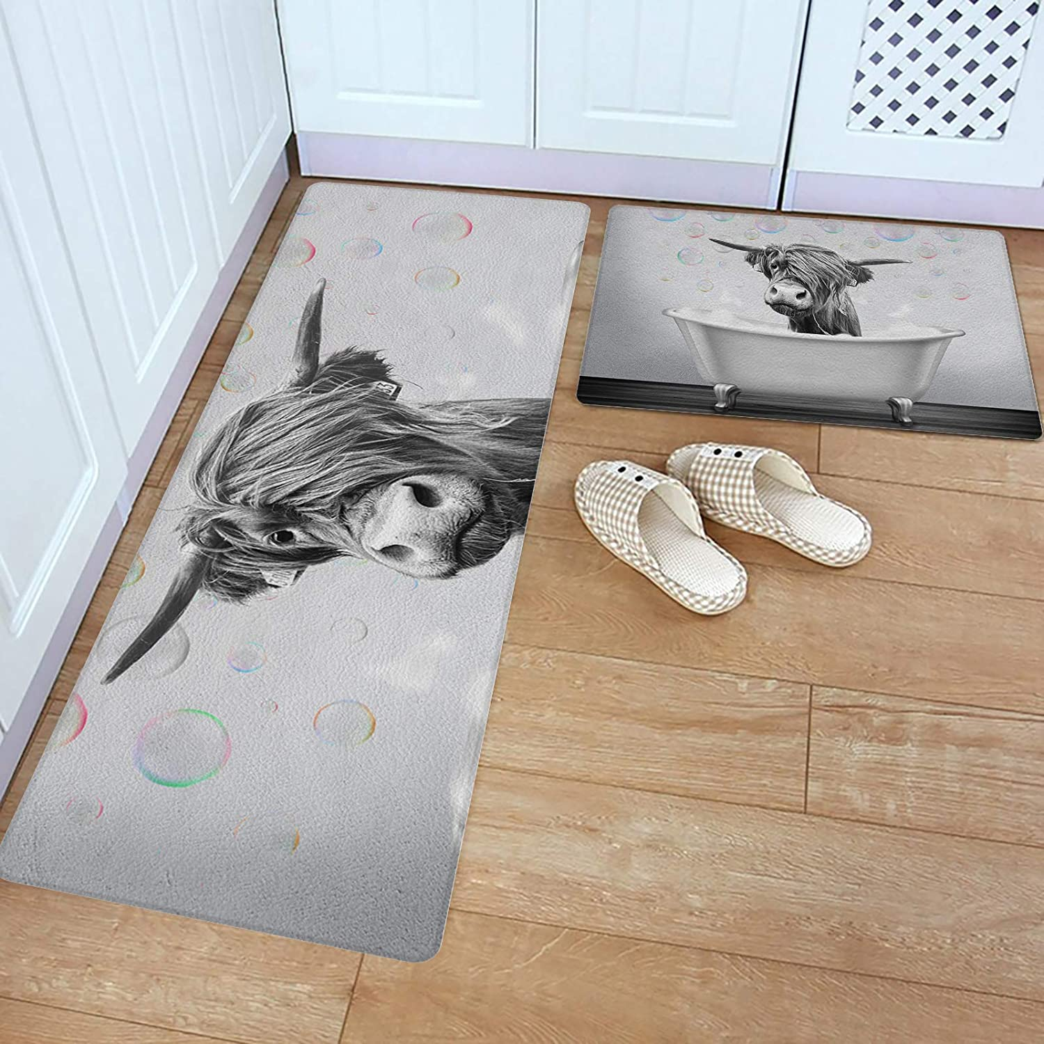 2 Piece Kitchen Rugs Set Popular Price reduction standard Leather Black and Standing Mats White