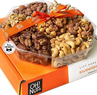 Oh! Nuts Holiday Gift Basket for Fathers Day, (1.8 LB) 7 Variety Roasted Nut Fresh Assortment Tray, Gourmet Food Gifts Pri...