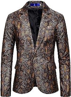 Men's Blazer Snakeskin-Print One Button Costume Gilding Casual Dress Blazer Jacket Suit Coat