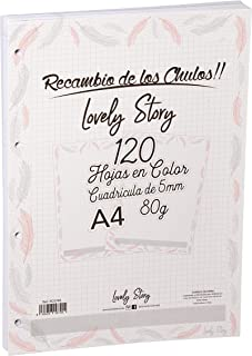 RECAMBIO 120 HOJAS A COLOR DE LOVELY STORY - COLECCION PLUMAS