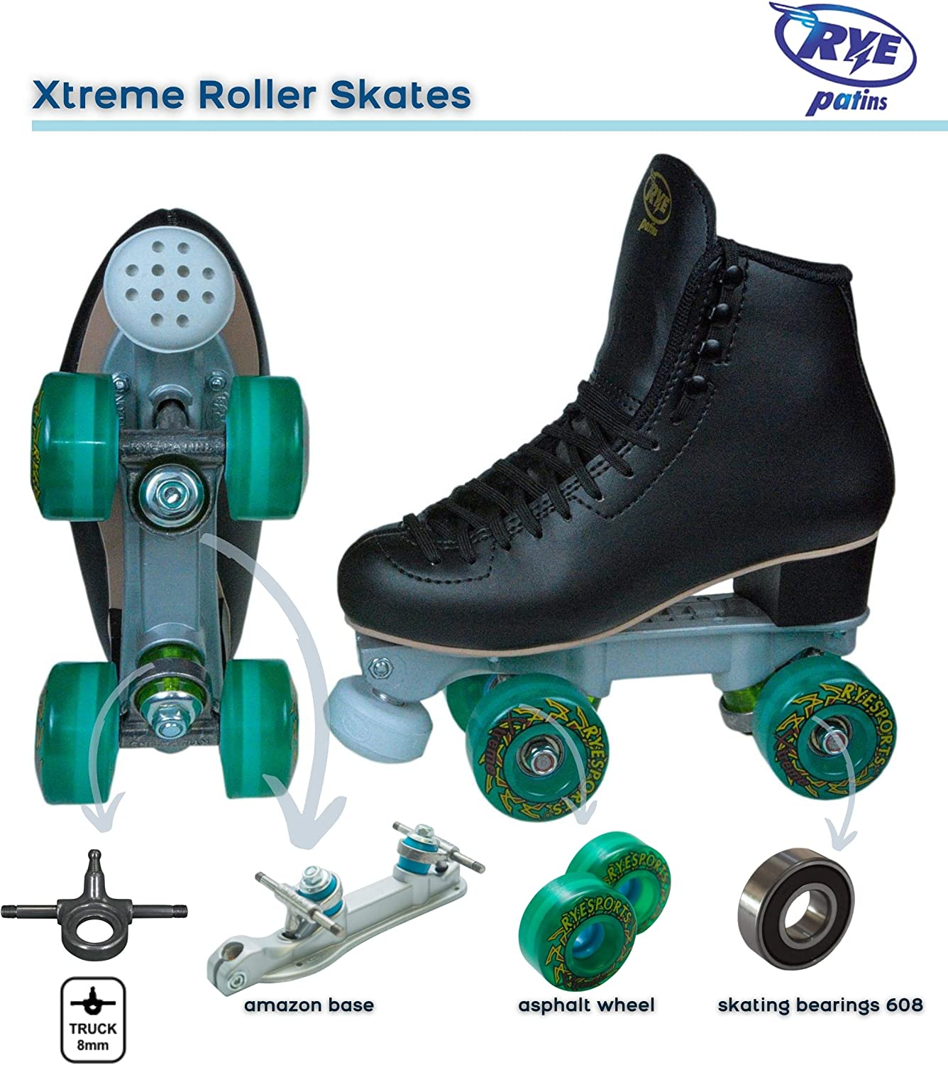 Soft Wheels for asphalts Xtreme Model Rye Patins Outdoor Roller Skates with high Boots for Teens and Adults