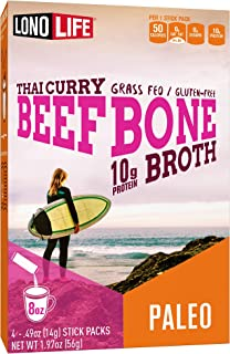 Sponsored Ad - LonoLife Thai Curry Beef Bone Broth Powder with 10g Protein, Paleo and Keto Friendly, Stick Packs, 24 Count