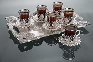 LaModaHome Silver Tea Set of 6 and Tray - Includes 6 Glasses, 6 Saucers Holders, and a Tray - VIP Special Serving Turkish Tulip - Arabic, Moroccan Coffee Sets - Cups and Mugs