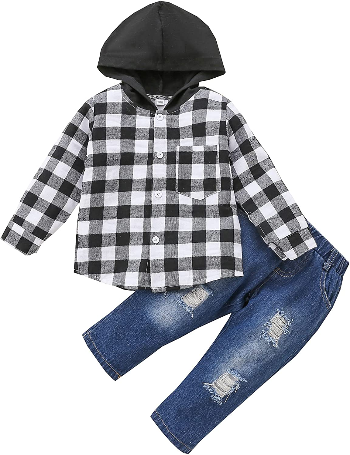 Toddler Baby Boys Plaid Hoodie Top Long Sleeve Button Down Tops Hooded Jacket Ripped Jeans Fall Winter Clothes Outfits