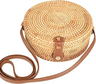 Handwoven Round Rattan Bag Women Straw Crossbody Bags Boho Shoulder Purse with Leather Strap