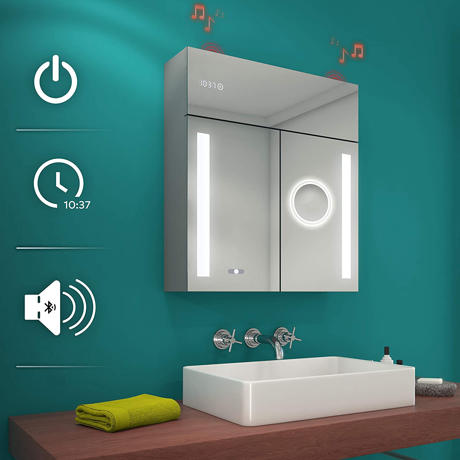 Buy Artforma Cabinet Illuminated Custom Bathroom Mirror Cabinets With Doors Width 26 Inch X Height 28 3 Inch Wall Mounted Bathroom Cabinet Additionals Online In Germany B083fmxsvl