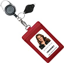 Genuine Leather ID Badge Holder Wallet with Heavy Duty Carabiner Retractable Reel, Key Ring and Metal Clip, 3 Card Pockets. Holds Multiple Cards & Keys. Bonus Key Chain Flashlight. Vertical. Wine Red