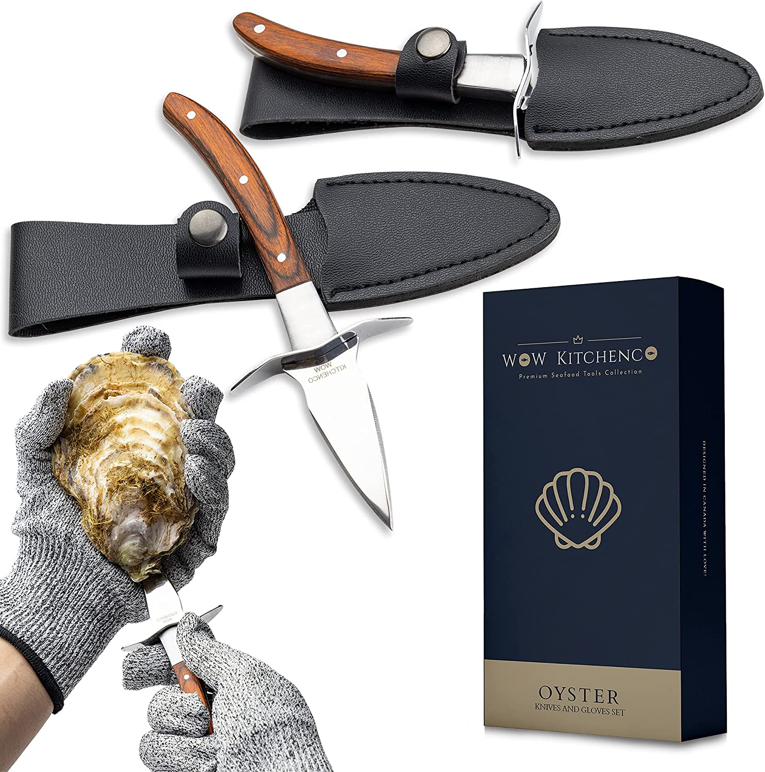 Set low-pricing of 2 Oyster Max 53% OFF Shucking Knives - Includ Protection with 5 Level