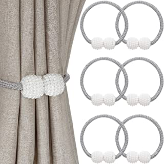 Magnetic Curtain Tiebacks Faux Pearl Ball Window Holdbacks Curtain Holder Buckle Clips for Home Office Decoration (6 Piezas)