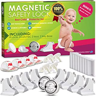 Cabinet Locks Child Safety Latches - Quick and Easy Adhesive Baby Proofing Cabinets Lock and Drawers Latch - Child Safety with No Magnetic Keys to Lose, and No Tools, Drilling or Measuring Required Baby Proofing Edge Corner Protector, ROVING COVE Soft Rubber Foam Table Bumper Guard, 3M Pre-Taped Corners, 20.4 ft (18 ft Edge + 8 Corners), Coffee Brown, Heavy-Duty Invisible Magnetic Cabinet Locks Child Safety Kit, Secure Kitchen & Bedroom Cabinets. Cupboards with Baby Proofing Cabinets Door & Drawer Locks for Kids & Toddlers. Keys & 3M Adhesive Straps. (8)