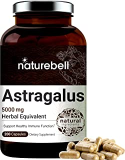 Maximum Strength Astragalus Capsules, 5000mg Herbal Equivalent, Premium Astragalus Supplement, 200 Counts, Supports Healthy Immune System, No GMOs