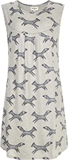 LaVieLente Soft Sleeveless Jersey Shift Dress with Pockets in Cat Placement, Bird/Twig or Running Fox Patterns