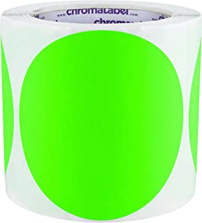 ChromaLabel 4 inch Color-Code Dot Labels | 250/Roll (Fluorescent Green)