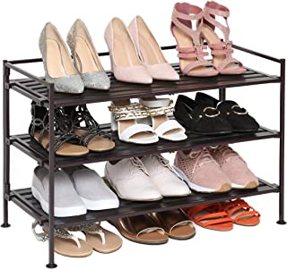 Seville Classics 3-Tier Stackable 12-Pair Shoe Rack Wood Resin Metal Freestanding Storage Shelf for Bedroom, Closet, Entry...